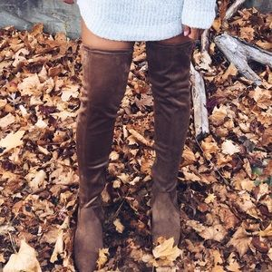 Brown suede knee high boots